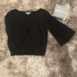 Black Top with Bell Mid Sleeve (cropped)